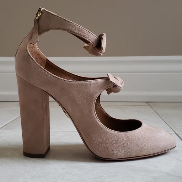 Aquazurra suede block heels